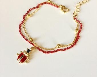 Ladybird Bracelet, KIDS Ankle Bracelet, Ladybug Charm Anklet Bracelet, Kids Jewelry, Toddler Jewelry, Jewelry, Baby Bracelets, Bracelet cocc