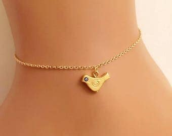 Gold Plated Bird Charm Anklet, Gold Jewelry, Birthday gift, Gift for kids, Animal Charm, Child bracelet, Kids bracelet, Bird Charm Bracelet