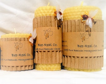 "8"" x 3"" % Pure Beeswax Hand Rolled Honeycomb Candle"