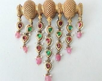 Vintage Antique Ethnic Tribal 20k Gold Pendant Amulet Necklace Rajasthan India