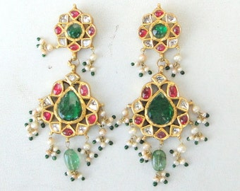 Vintage Antique 20k Gold Diamond Polki Kundan Enamel Work Earring Pair India