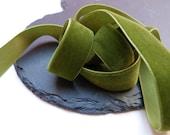 Moss Green Velvet Ribbon 22mm Wide Berisfords Per Metre