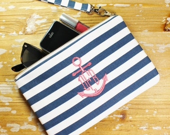 Monogrammed Navy Wristlet/Clutch - Anchor - Nautical - Iphone/Phone Wristlet - Bridesmaid Clutch- Navy & Coral - Striped Clutch