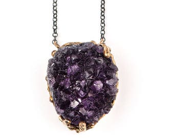 Amethyst Pendant - Unique Piece gemstone crystal necklace with sterling silver chain