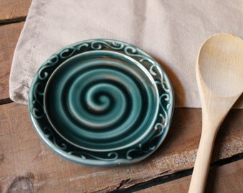 Spoon Rest, Teal green, Decorative Rim, Spoon Holder, Dish, IN STOCK, ready to ship