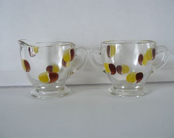 Vintage Cream and Sugar Hand Painted With Brown and Yellow Polka Dots