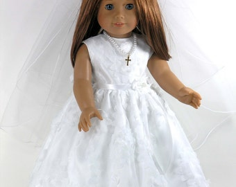 Handmade Clothes for American Girl Doll - First Holy Communion Confirmation Dress, Cross Necklace, Veil, Pantalettes - Petals Netting, Satin