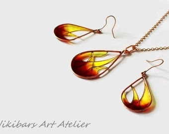 Flame Stained Glass Jewelry, Copper Resin Necklace Earrings Set, Wire Wrapped Resin Vitrage Set,  Modernist Jewelry Set, Art Jewelry Set