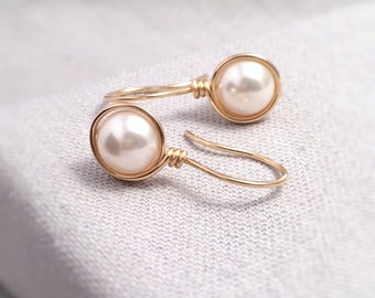 Pearl Earrings Gold Filled | Ivory Pearl Drop Earrings | Gold Pearl Earrings | Bridal Pearl Earrings | Pearl Earrings UK