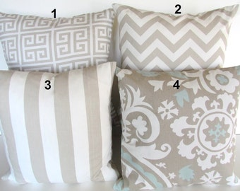 TAN PILLOWS TAN Throw Pillows Tan Decorative Throw Pillow Covers taupe greek key Tan Pillow Covers 14x14 16x16 Home and Living Home Decor
