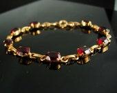 """Garnet Bracelet gold filled bracelet Vintage Bracelet January Aquarius 15th 40th 45th anniversary 1/20th 12kt gold filled 7"""""""