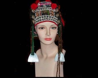 Vintage Headdress Thai Tribal Akha womens head piece Coins metalwork shells Nomadic clothing chinese tibet headdress
