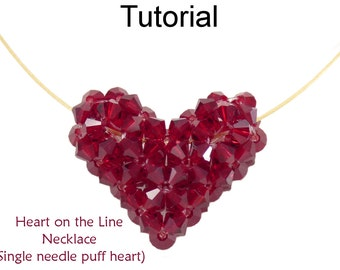 Beading Tutorial Pattern - Beaded Crystal Puff Heart Pendant Necklace - Valentine Necklace - Simple Bead Patterns - Heart on the Line #24320