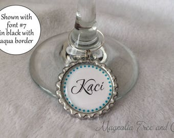 Personalized Wine Charms, Bachelorette Party Favors, Wedding Favor, Custom Name, Wedding Party, Wine Rings, Polka Dot Border Set of 6, M06