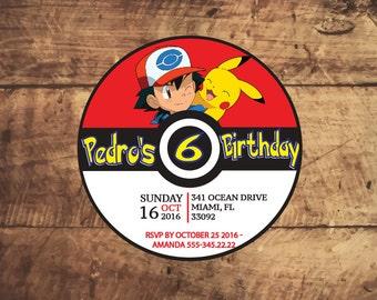 Pokemon Invitation, Pokemon Go Invitation, Pikachu Invitation, Pokemon Birthday Party, Pokemon Go Party, Pokemon Printable Invite, pokeball