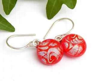 Tomato Red and Gold Dichroic Glass Dangle Earrings on 925 Sterling Silver Earwires - Fused Glass Jewelry - Red Drop Earrings