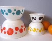 Hazel Atlas Atomic Polka Dots 4 Nesting Bowl Set ,Salmon-Orange, Turquoise, Yellow and Brown Polka Dot bowls