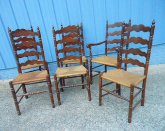 Famous Tell City Ladderback 6 Mahogany Chairs # 2312 Rush Seat Average Wear for Farmhouse Table Local Pickup or Your Shipping Arrangement