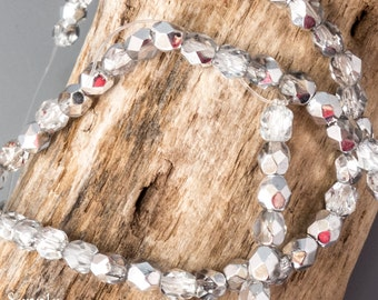 4mm Mirror Silver Metallic Fire Polished Faceted bead - Czech Glass Beads - 50 beads - 321