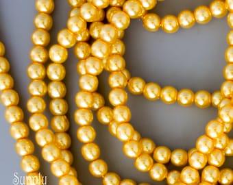 4mm Sunglow Czech Glass Pearl Beads, 120 Beads, Sunglow 4mm Pearl Beads, 3627, Yellow Pearl Beads