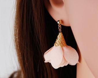 Rose Petal Earrings, Bridesmaid Flower Earrings, Wedding Earrings, Satin Flower Earrings, Bridal Flower Earrings