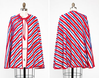 1940s Polly Prentiss Chenille Cape Beach Cover Up - Patriotic - Pin Up - July 4