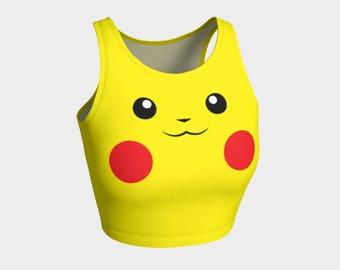 Pikachu  Athletic printed Crop Tops - Anime crop tops