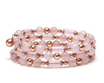 Rose Quartz and Rose Gold Pearl Memory Wire Bracelet