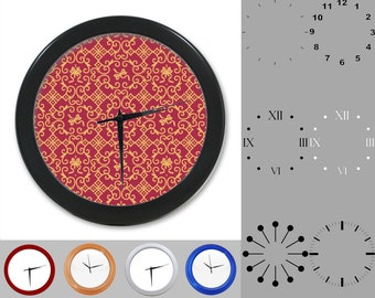 Damask Wall Clock, Abstract Floral Design, Purple, Gold Artistic, Customizable Clock, Round Wall Clock, Your Choice Clock Face or Clock Dial