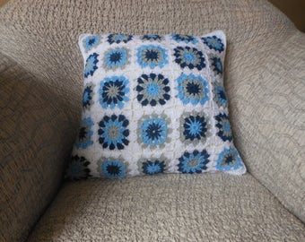 Crochet Pillow, Granny Square Cover Pillow, Decorative Pillow, White Blue and Grey Handmade Home Decor 18x18