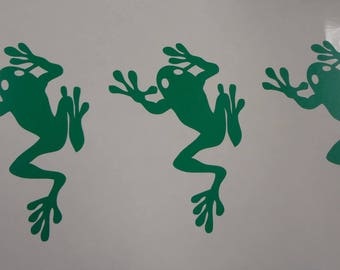 10 Frogs Decals Sticker Self Adhesive Wall Cup Glass Envelope Party Decor Announcement Tree Birthday Event Card Making Invitation Lime Green