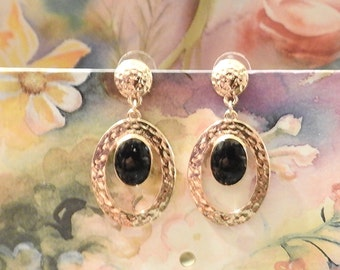 Vintage Jewelry Gold Washed Onyx Dangle Earrings