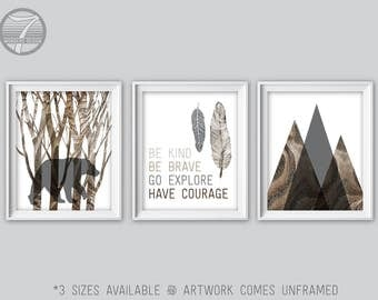 Boys Woodland Nursery Art Prints, Be Kind Be Brave Go Explore Have Courage, Faux Wood, Baby, Bear Mountains, Brown Gray Set of (3) Unframed