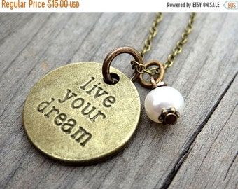 ON SALE LIVE Your Dream Bronze White Freshwater Pearl Crystal Bead Necklace Pendant Wire Wrap Handmade Jewelry