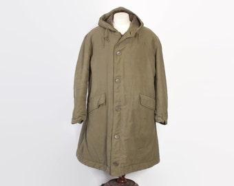 Vintage 50s USN PARKA / 1950s Korean War Era Alpaca Lined US Navy Jacket Coat with Hood L - Xl