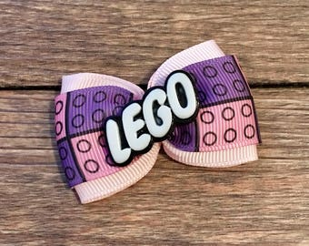 SALE!!! Lego Hair Bow-Legos Bow-Lego Hair Accessory-Girly Lego Hair Bow-Lego Birthday Party Hair Bow-Lego Building Blocks Hair Bow