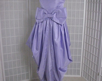 1970s Victor Costa Lavendar Strapless Satin Gown........size Medium