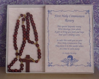 Brown Wood Bead First Communion Rosary