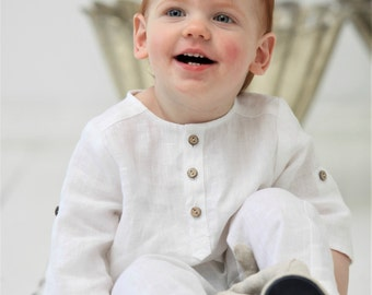 Baby Boy linen shirt  1st birthday outfit Baptism Christening shirt Boys clothes Ring bearer shirt Family photo Page boy linen shirt Toddler