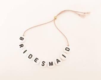 Bridesmaid bracelet, Natural silk bracelet, string bracelet, Bridesmaid gift, letter bracelet, Choose between ten silk colours
