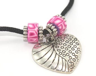 SPRING SALE Valentines day gift, Heart necklace with polymer clay pink beads and silver plated charms, pendant gift for girls and teens