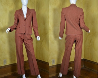 Halston Vintage Wool Tweed Pant Suit With Amazing Lines and Tailoring NWOT