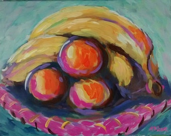 Kitchen decor fruit still life original painting impressionism painting art