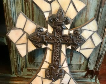 Cream or Beige Mosaic Cross, Mosaic Stained Glass Cross Wall Hanging, Wall Decor