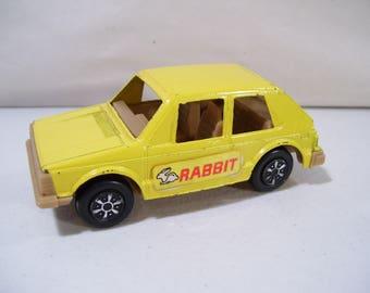 Vintage Tootsietoy Toughs Volkswagen Rabbit Die-cast Car, Toy Car, Yellow, 1982