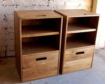 Wooden Crates/ Nightstands/ Side Tables/ Drawer/ Reclaim Wood/ Set of Two
