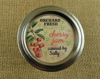 Personalized Canning - Vintage Cherry Design - 20 4 Oz  Mason Jars Jars or 12 8 Oz Square Mason Jars With Custom Labels - vfc