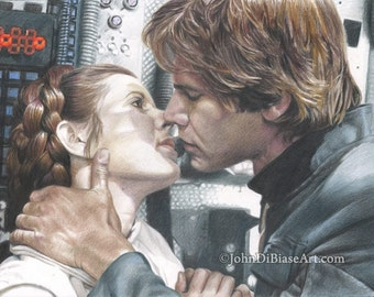 Print of Colored Pencil Drawing of Carrie Fisher and Harrison Ford as Han & Leia in Star Wars 8.5 x 11
