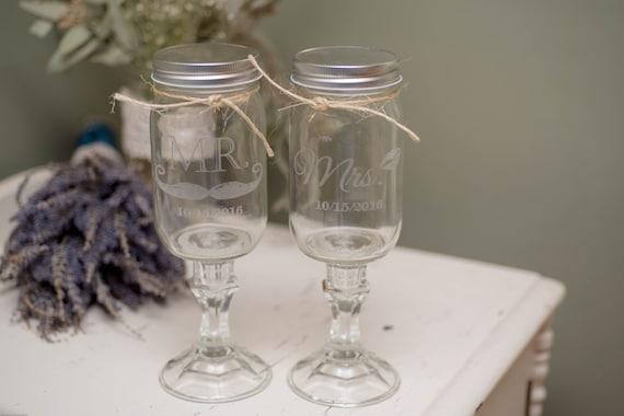 Mr. & Mrs. Etched Set of 2 Redneck Wine Glasses 16oz Mason Jar Wine Glasses