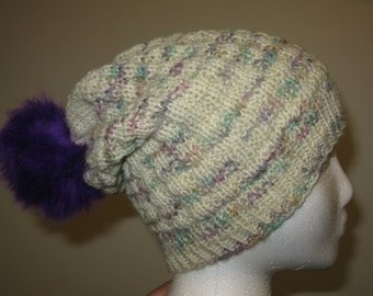 100% Wool Knit Hat - waffle texture